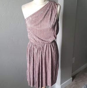 One shoulder shimmery pleated taupe dress size S
